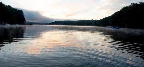 Deep Creek Lake Maryland misty morning lakeside