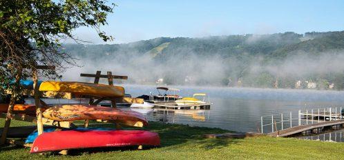 Deep Creek Lake Maryland red kayaks lakeside