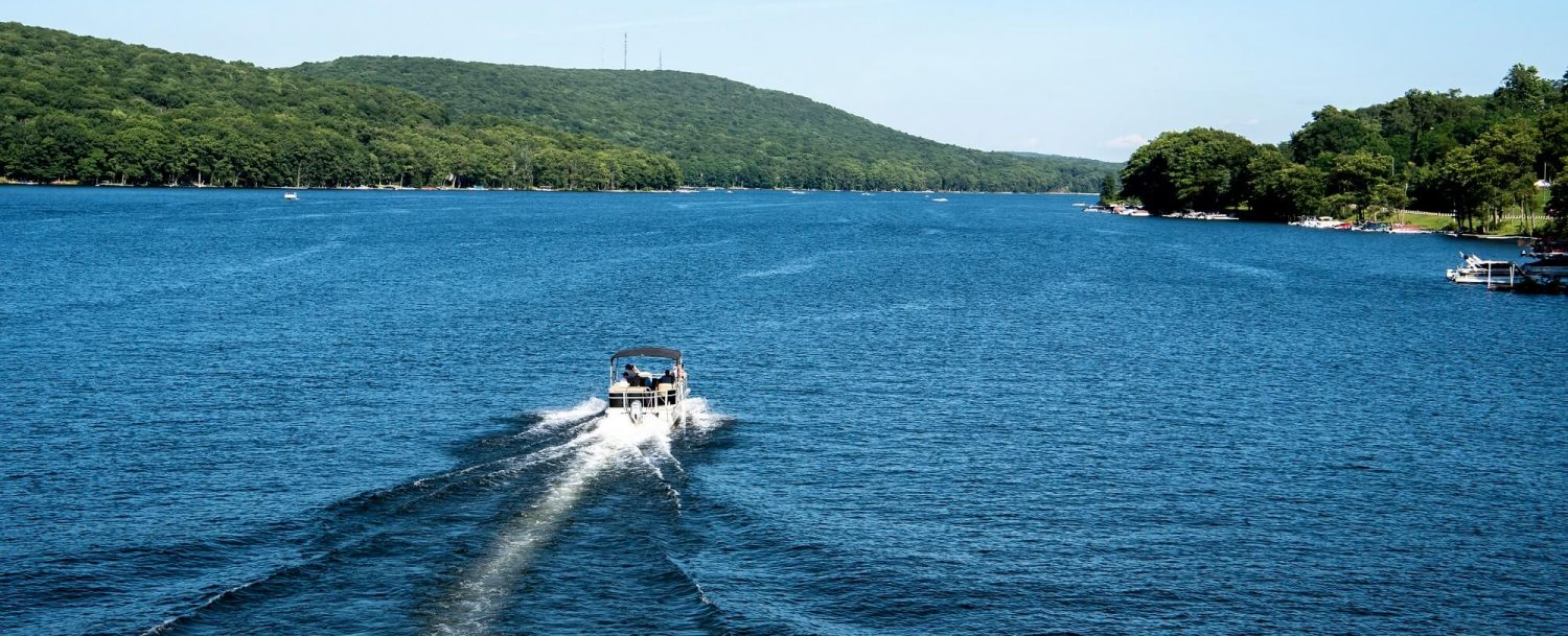 Deep Creek Lake boating summertime aerial