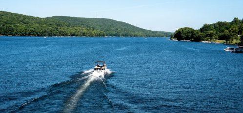 Deep Creek Lake boating summertime aerial