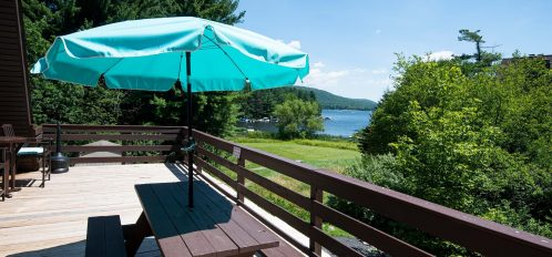 Inn at Deep Creek exteior shared observation deck lake view picnic table