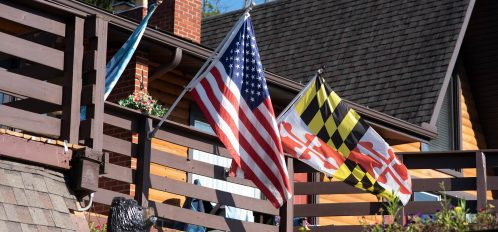 Inn at Deep Creek exterior bear and flags