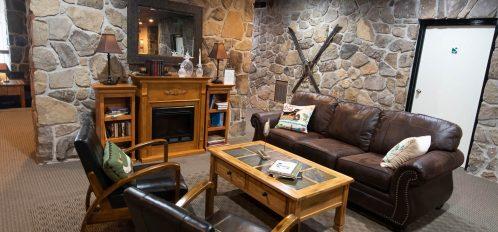 Inn at Deep Creek lobby fireplace common area